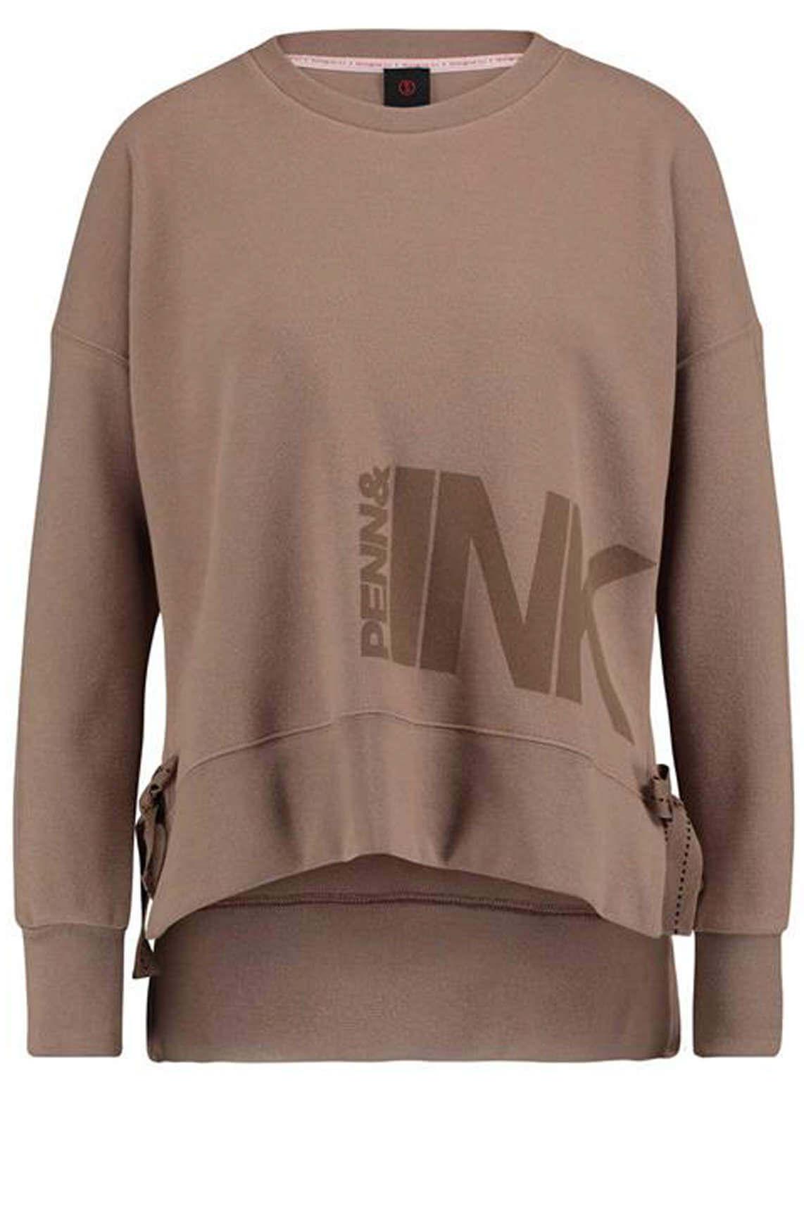 Penn & Ink Dames Sweater met strikdetail Bruin