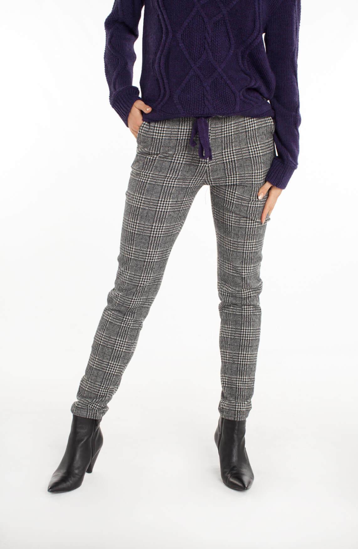 Penn & Ink Dames Pied-de-poule broek zwart