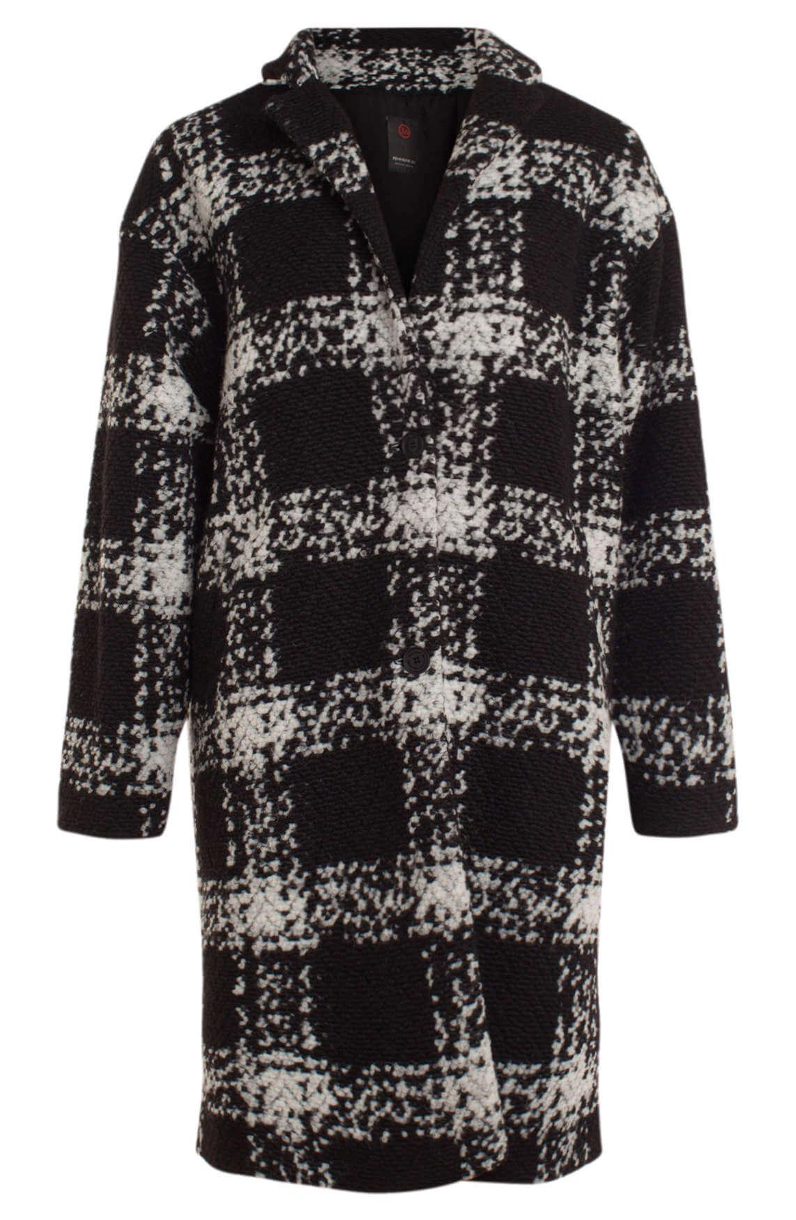 Penn & Ink Dames Oversized jas met ruit zwart