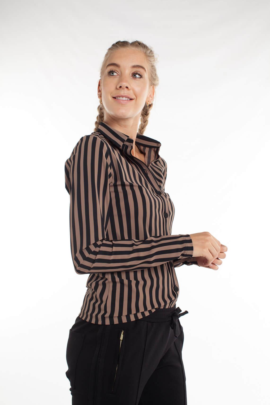 Penn & Ink Dames Gestreepte blouse Bruin