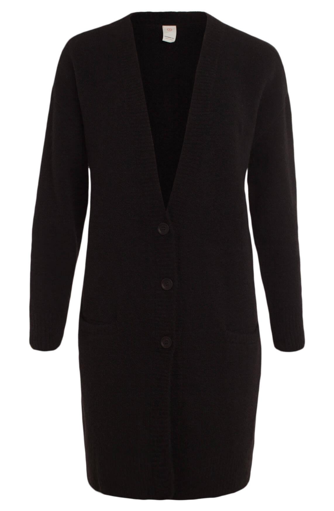 Penn & Ink Dames Lang wollen vest zwart