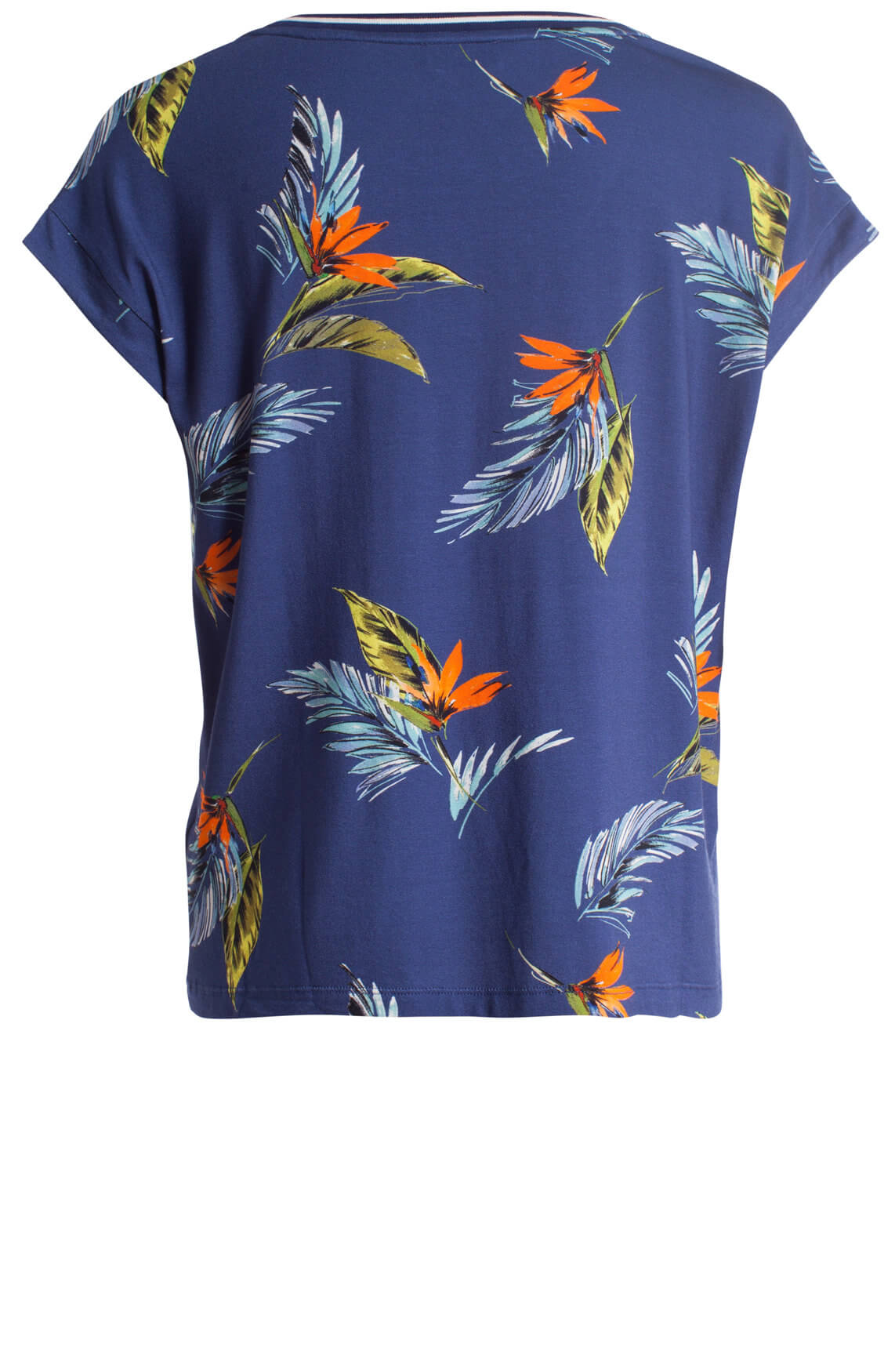 Anna Blue Dames Shirt met tropische print Blauw