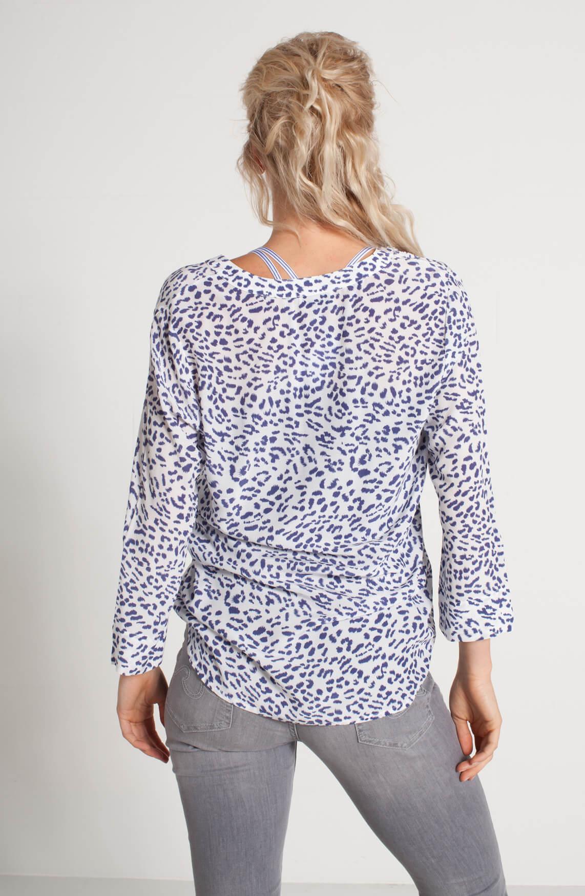 Anna Blue Dames Blouse met print wit