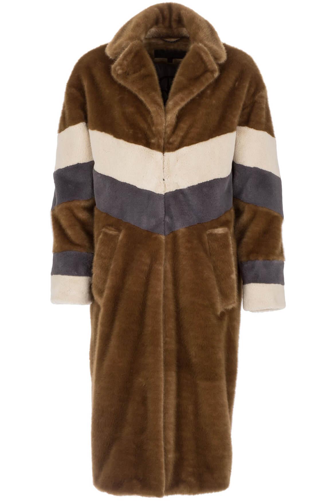 Giacomo Dames Lange mantel met fake fur Bruin