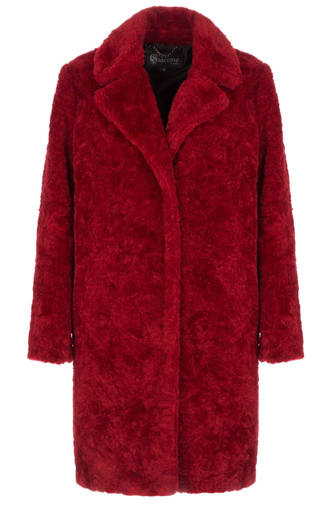 Giacomo Dames Faux fur mantel rood Rood