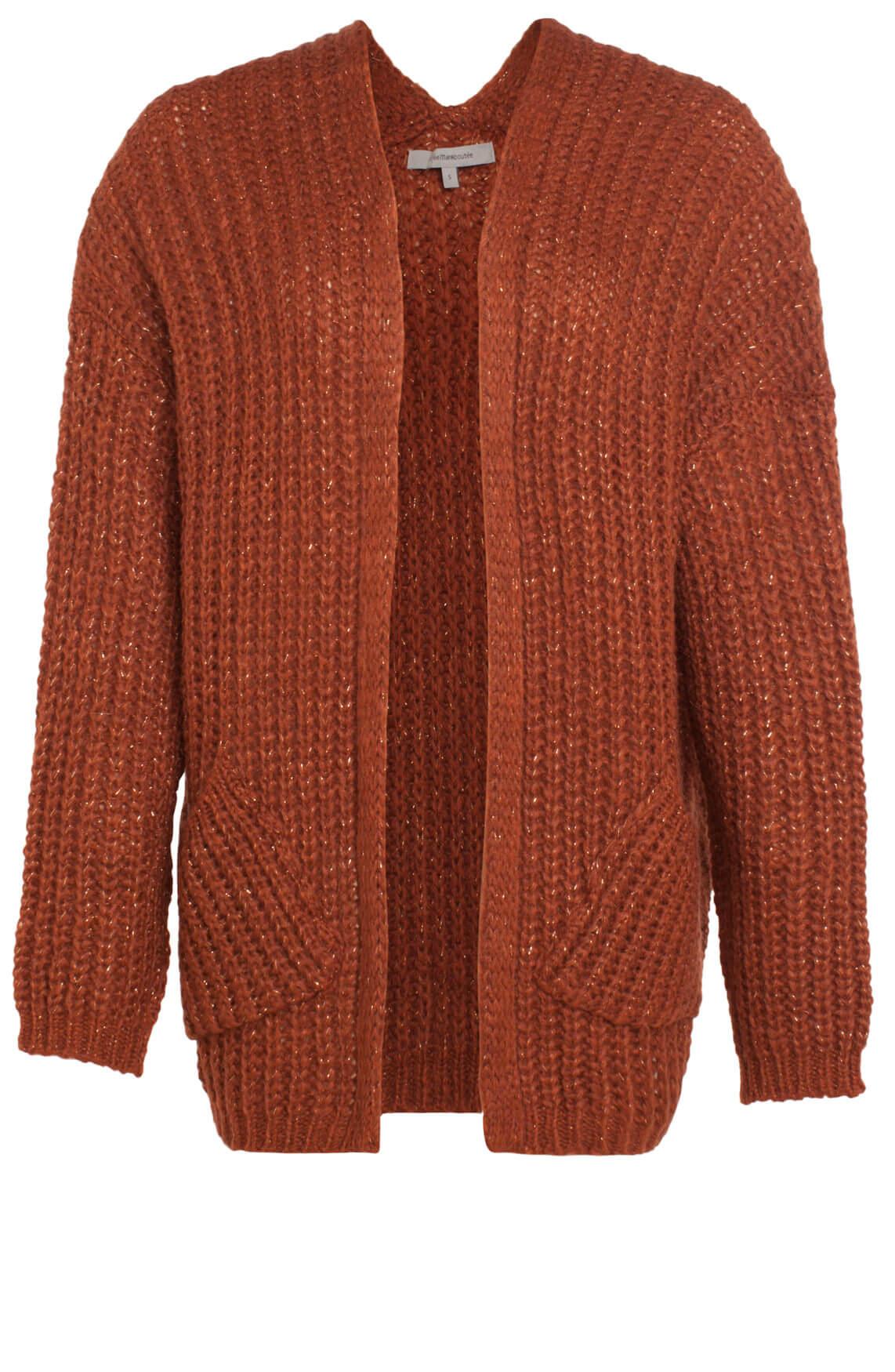La Fée Maraboutée Dames Grofgebreid vest met lurex Bruin