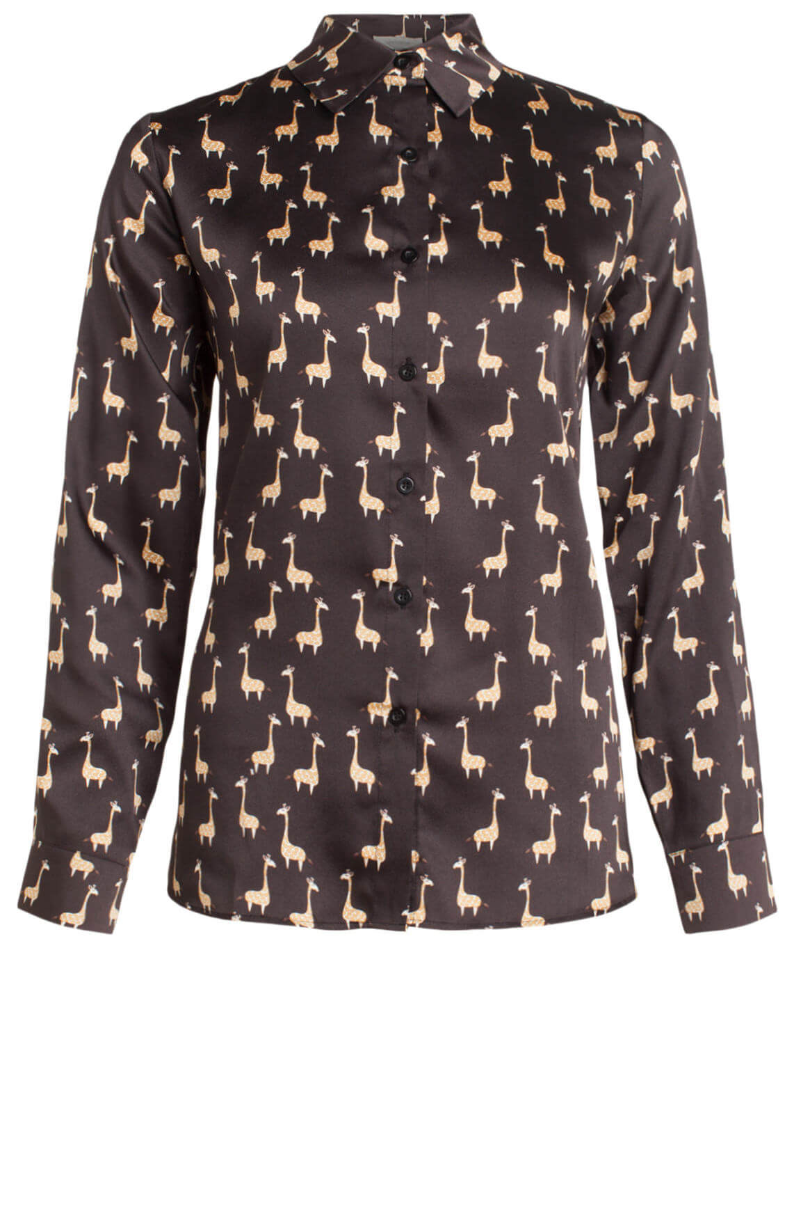 La Fée Maraboutée Dames Blouse met giraffe print zwart