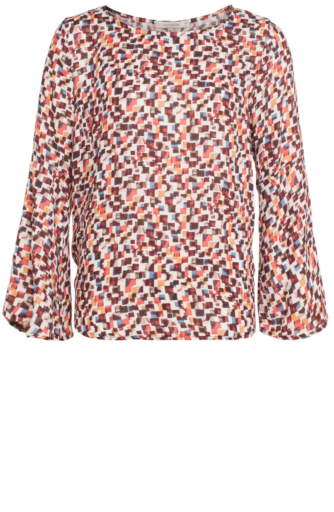 La Fée Maraboutée Dames Geblokte print blouse roze