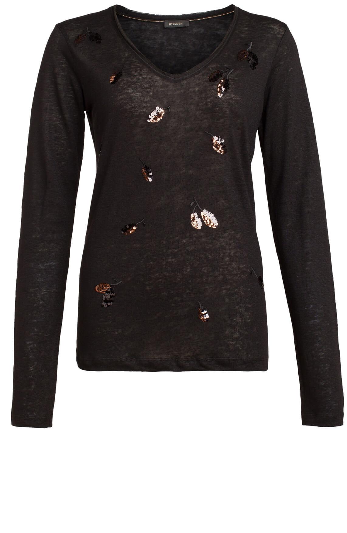 Mos Mosh Dames Leavetee shirt zwart