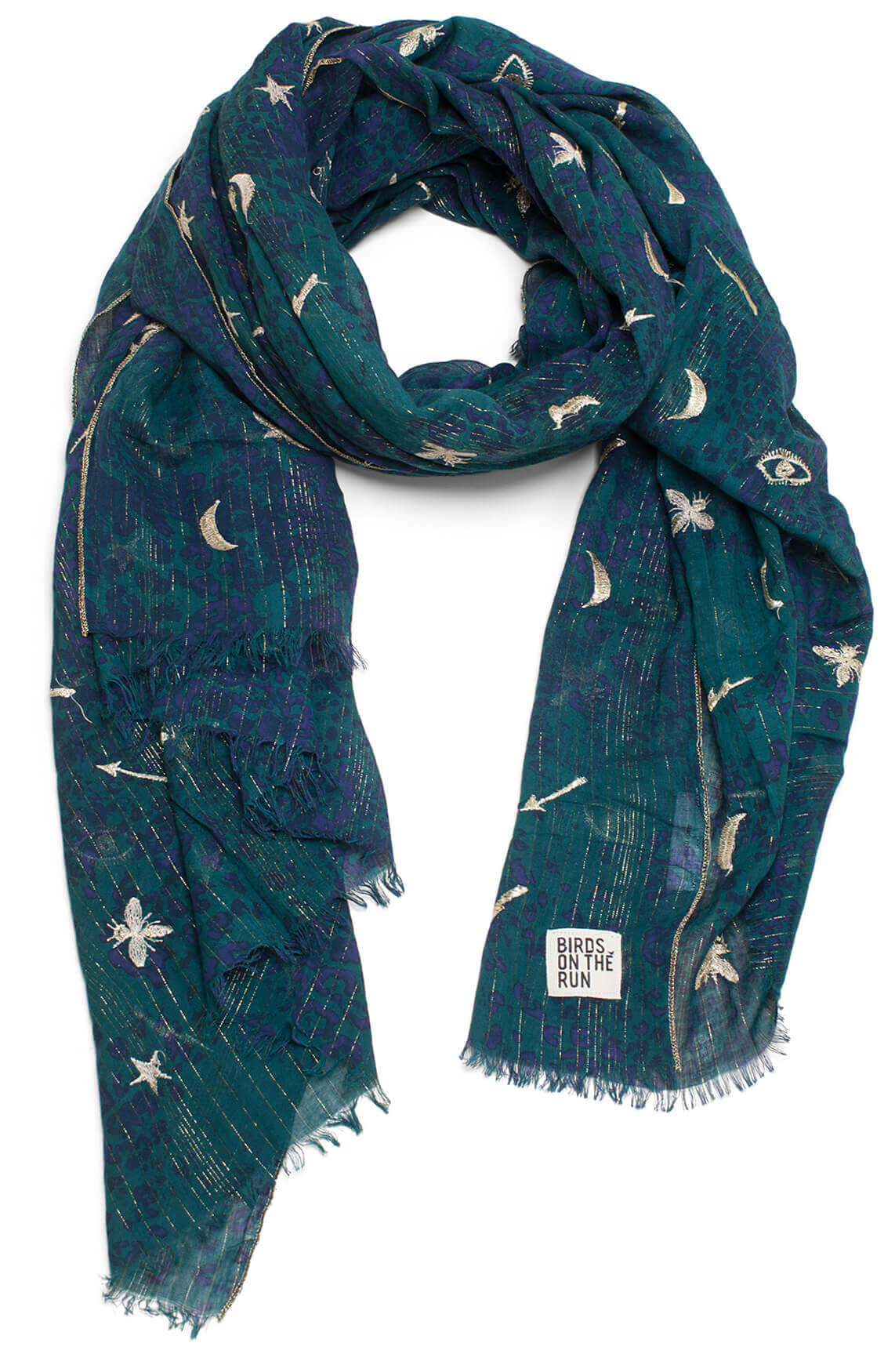 Birds on the run Dames Shawl met lurex groen