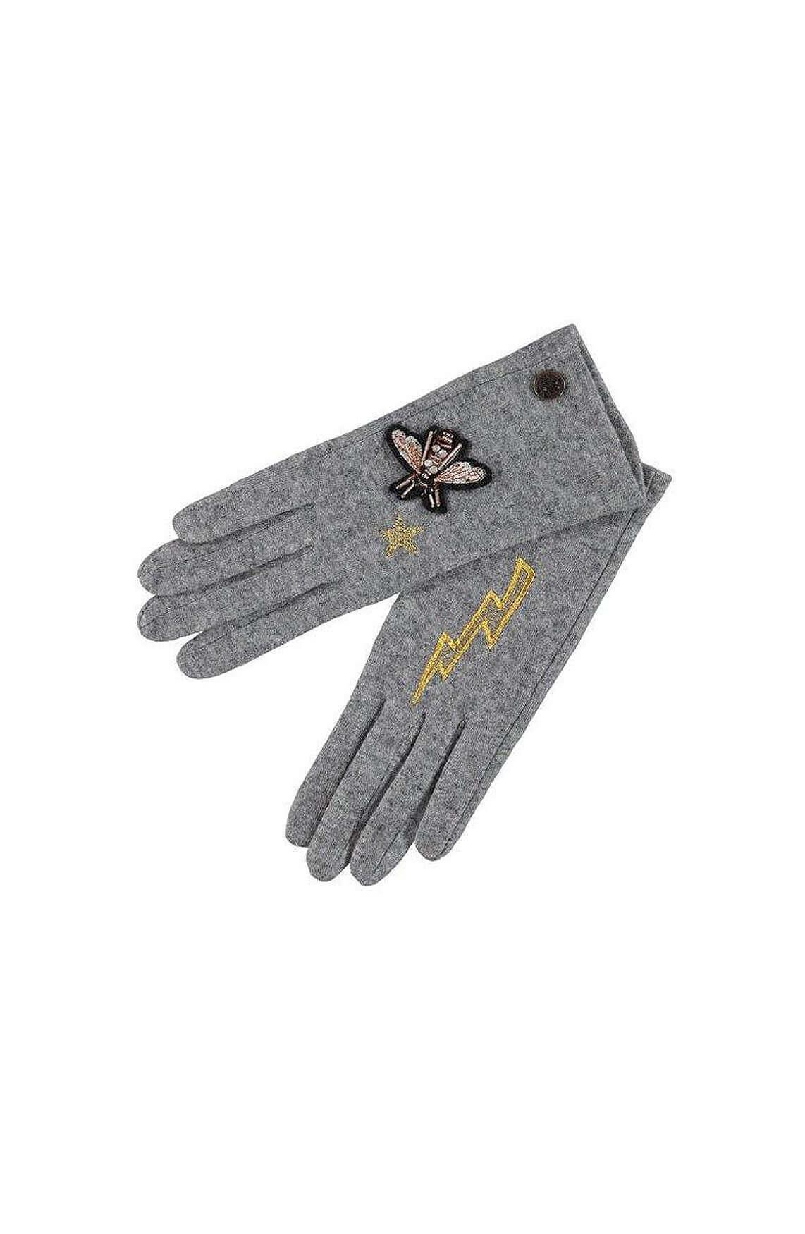 Birds on the run Dames Geborduurde handschoenen Grijs