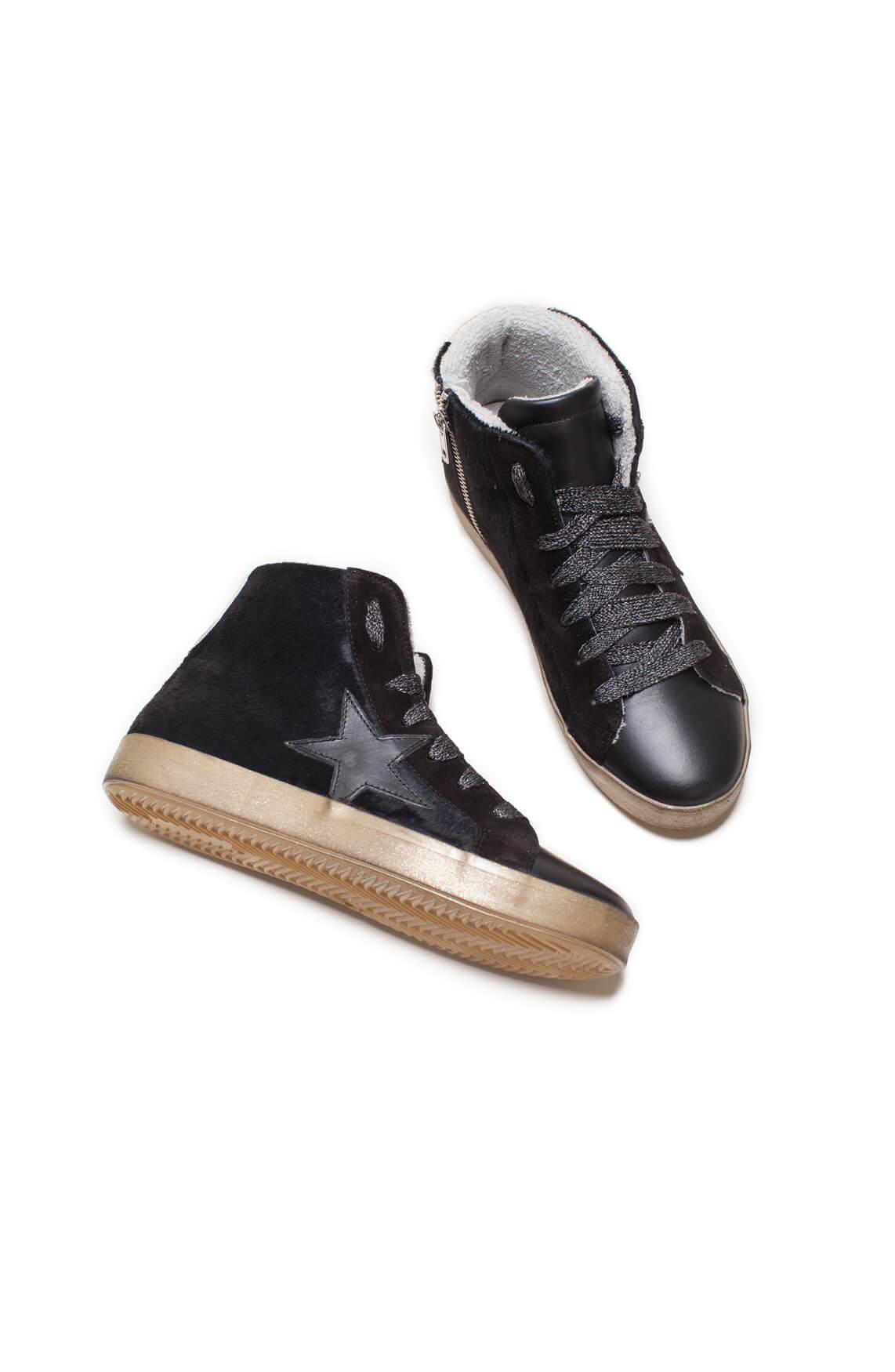 Clou Dames Suède sneaker met ster zwart
