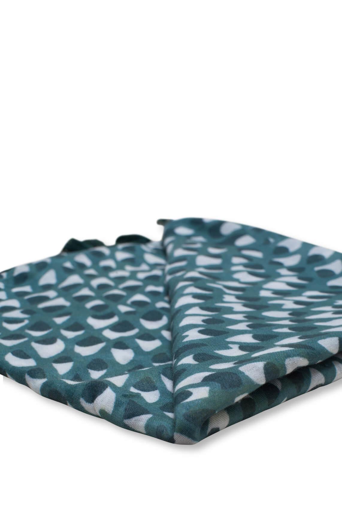 Anna Blue Dames Shawl met print groen
