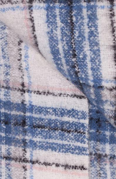 Anna Blue Dames Geruite shawl Blauw