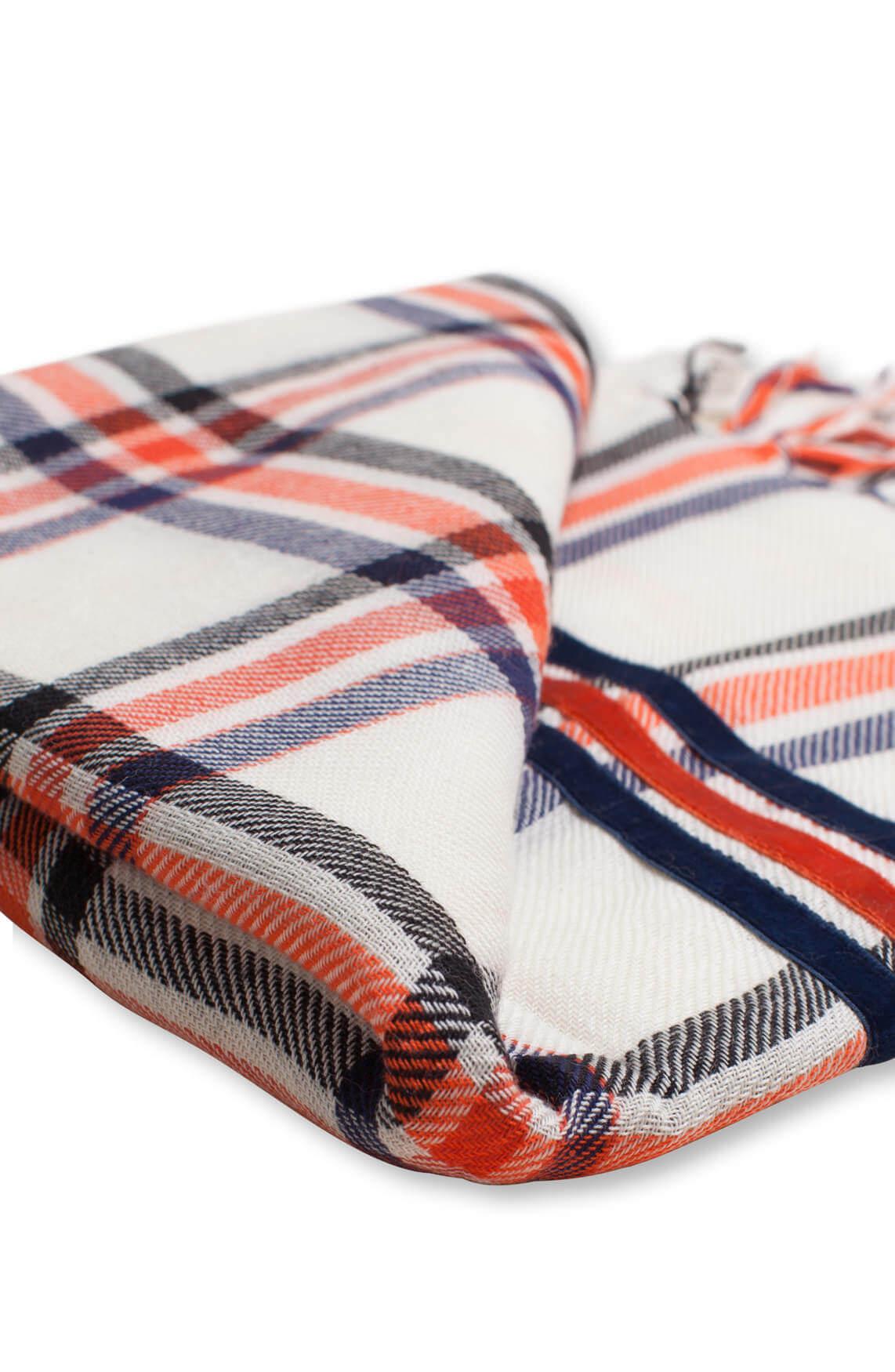 Anna Blue Dames Geruite shawl wit