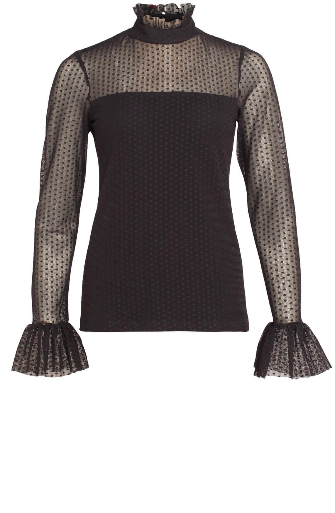 Jane Lushka Dames Mesh blouse met stippen zwart
