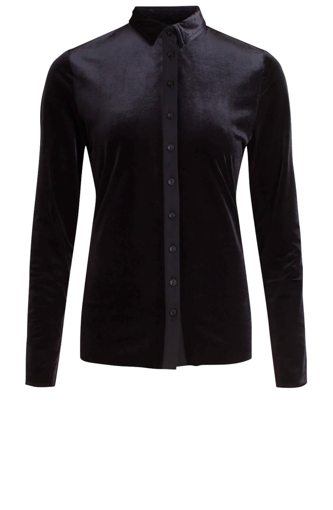 Jane Lushka Dames Velvet blouse zwart