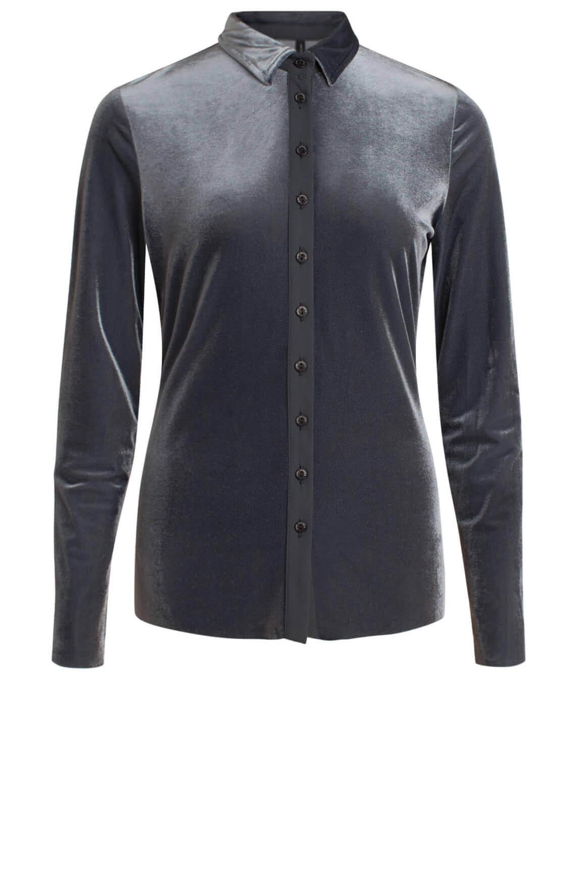 Jane Lushka Dames Velvet blouse Grijs