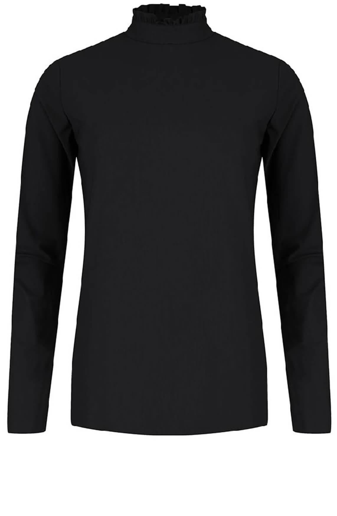 Jane Lushka Dames Shirt met ruche kraag zwart