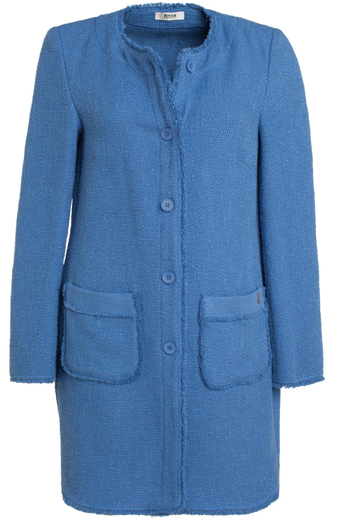 Anna Dames Lange tweed blazer Blauw