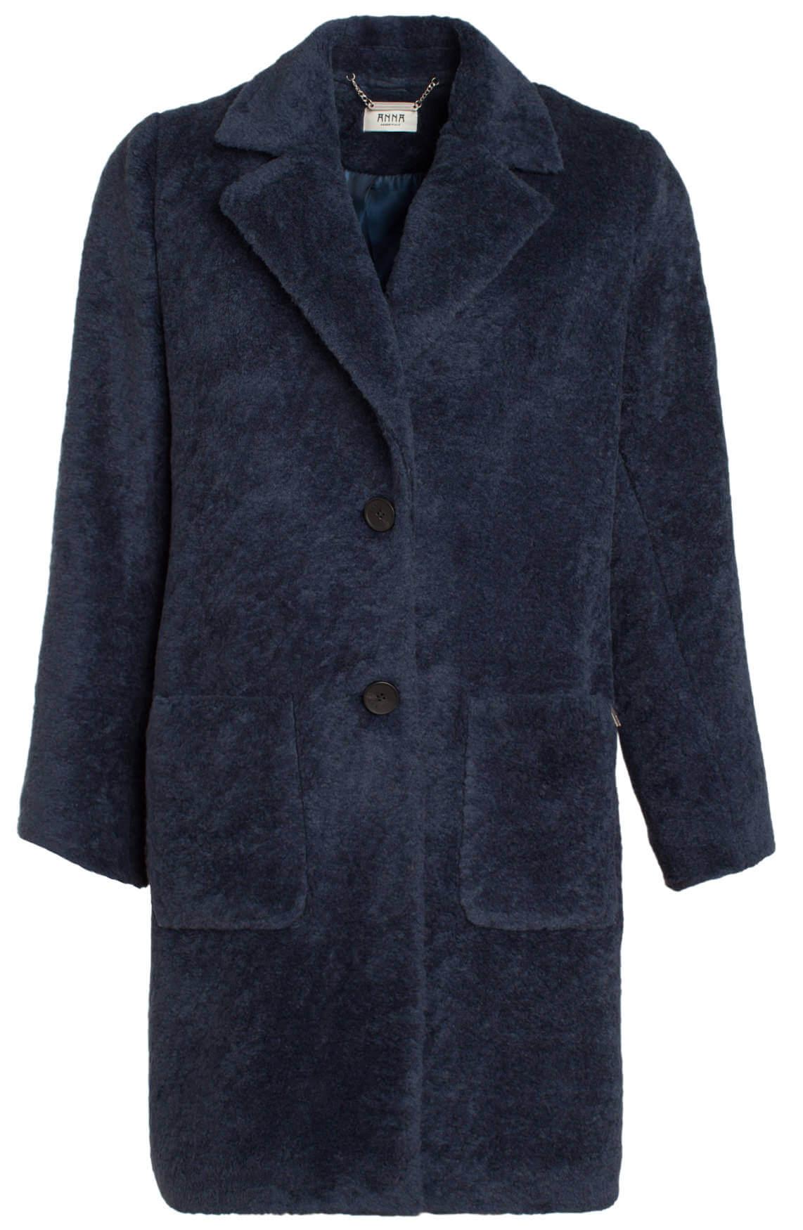 Anna Dames Fake fur mantel Blauw