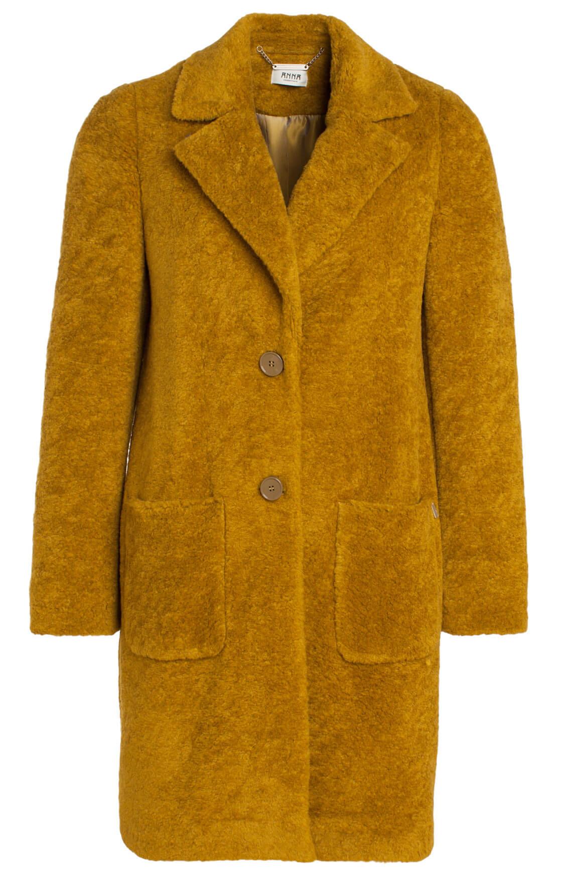 Anna Dames Fake fur mantel geel