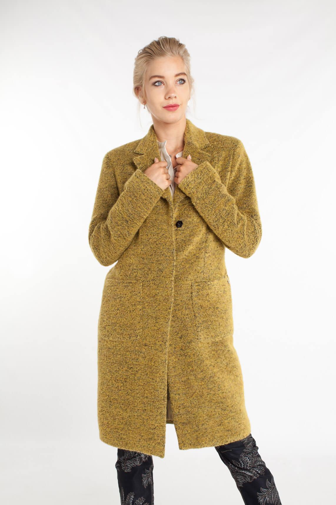 Anna Dames Bouclé mantel geel