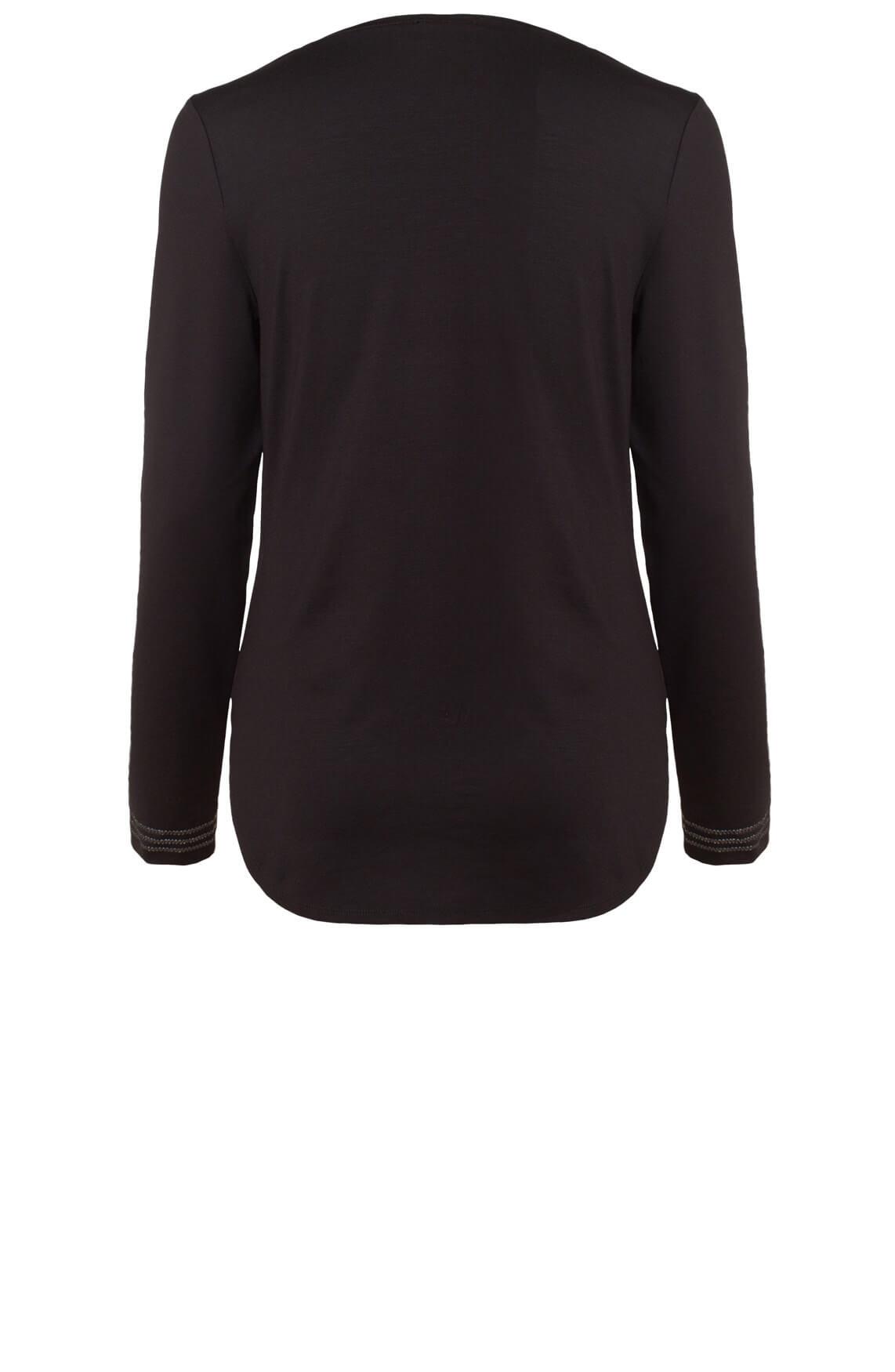 Anna Dames Shirt met stikseldetail zwart