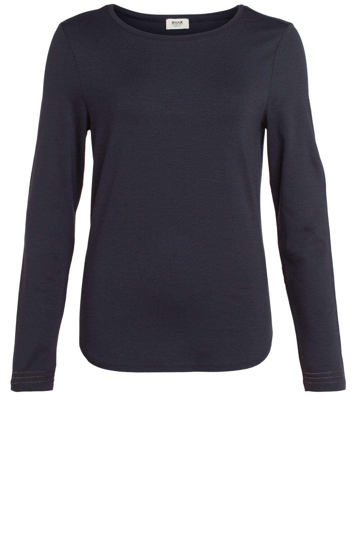 Anna Dames Shirt met stikseldetail Blauw