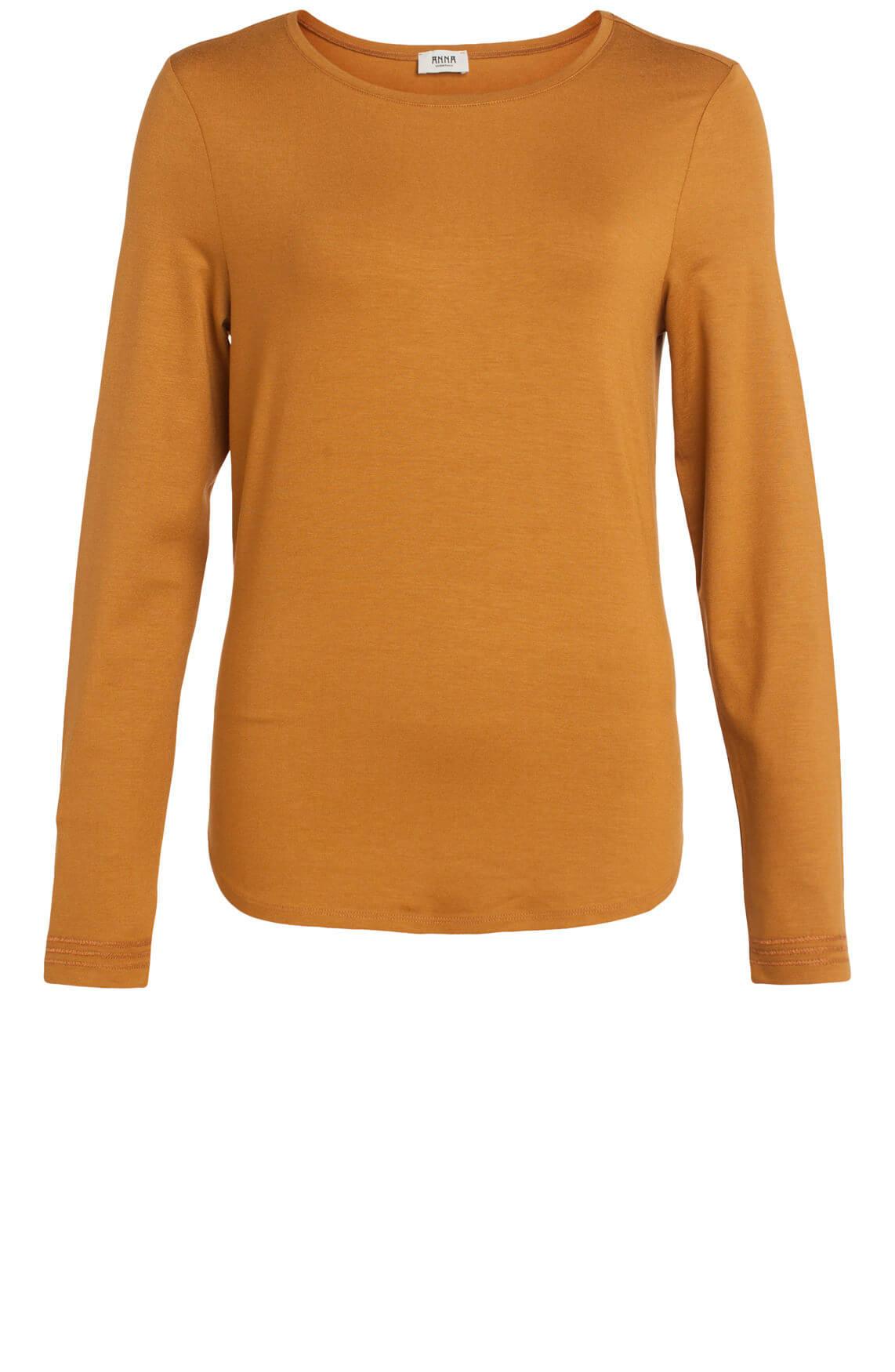 Anna Dames Shirt met stikseldetail Bruin