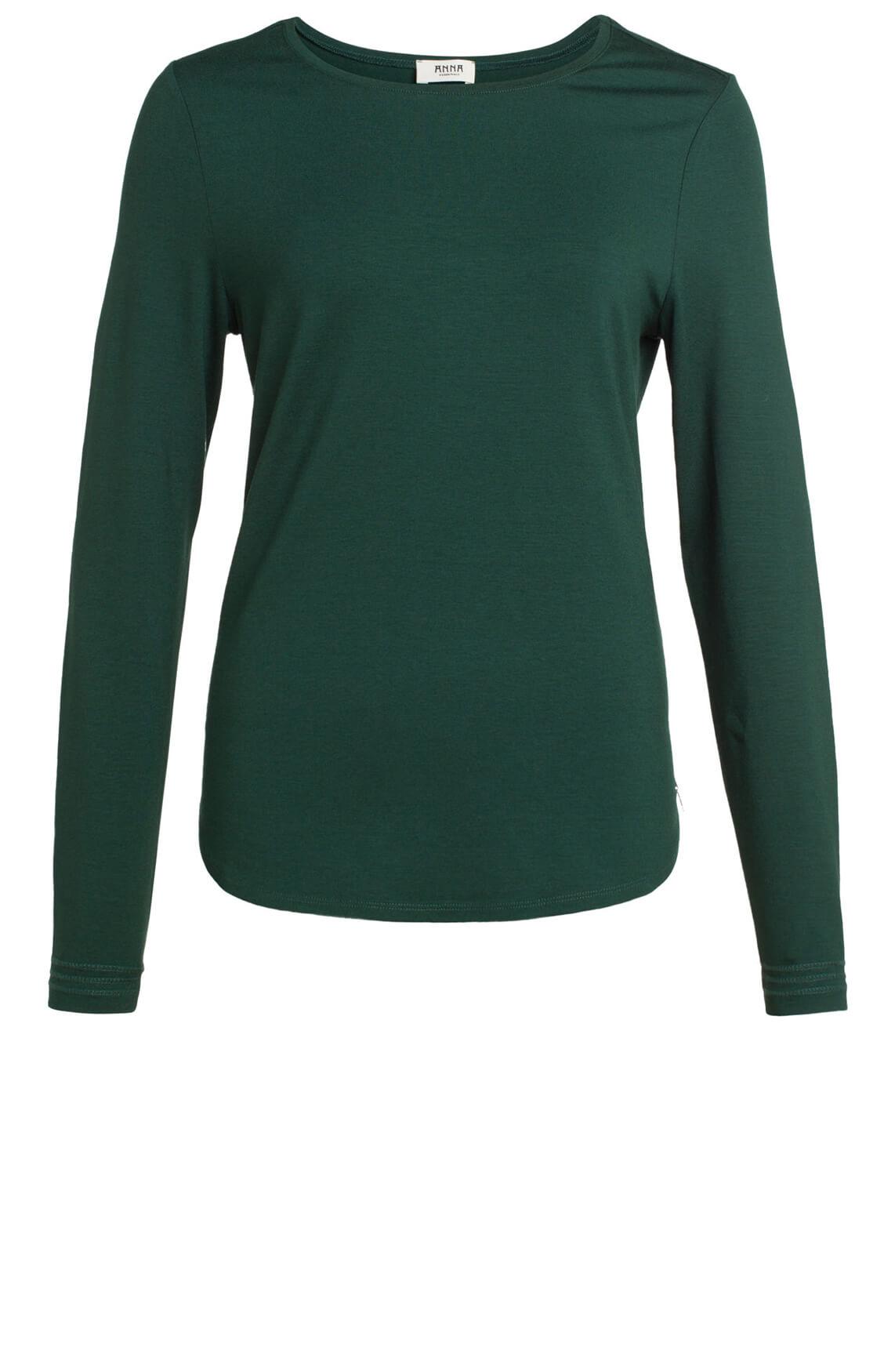 Anna Dames Shirt met stikseldetail groen