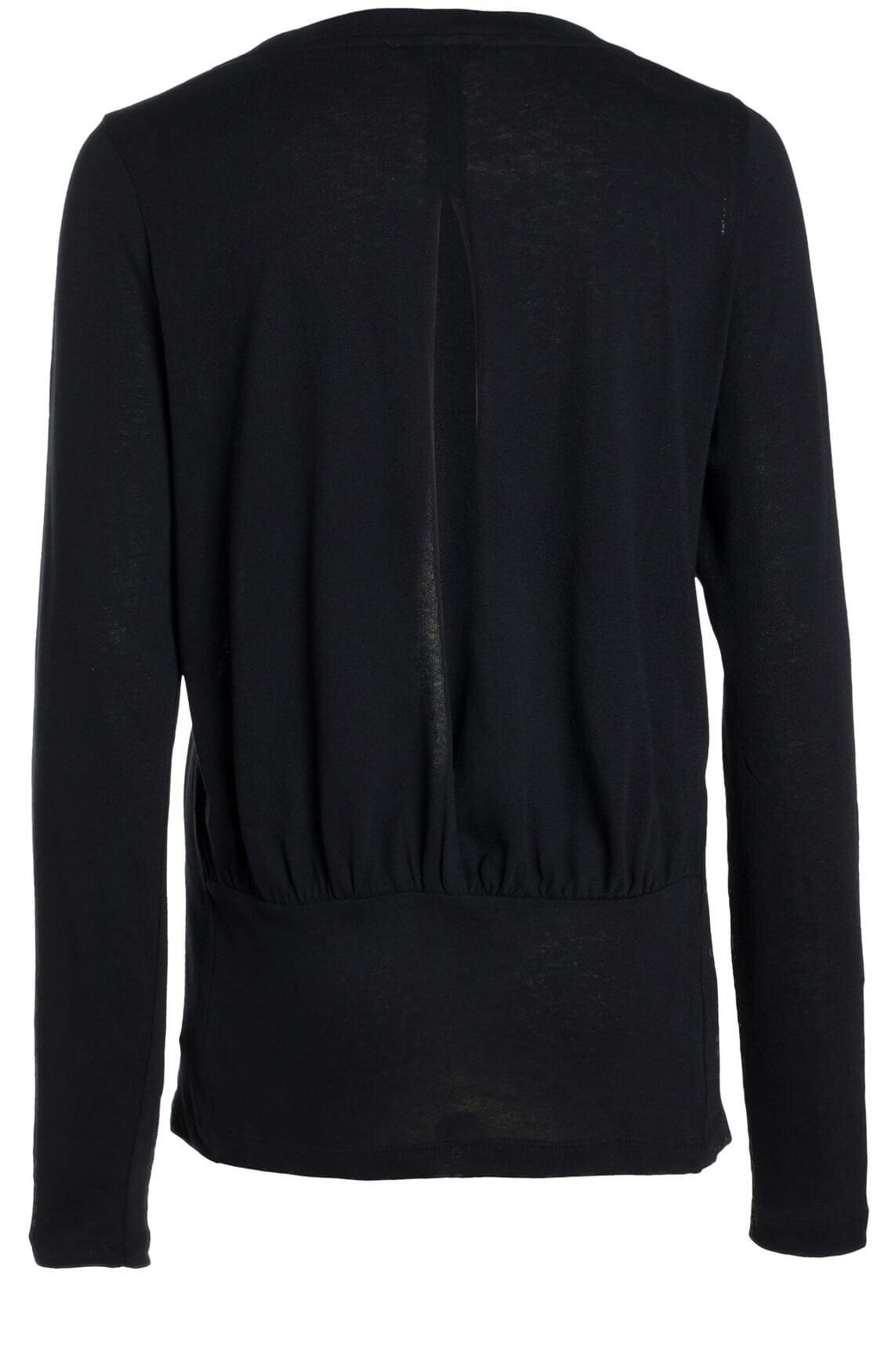 Anna Dames Shirt met cut-out detail zwart