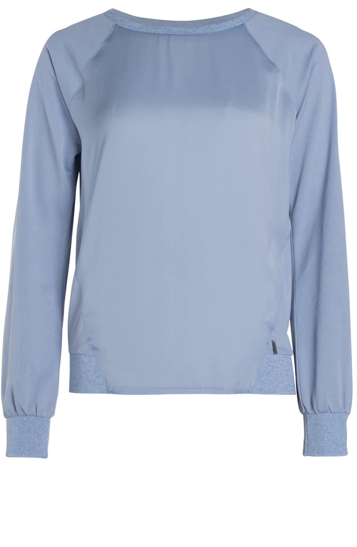 Anna Dames Materiaalmix shirt Blauw