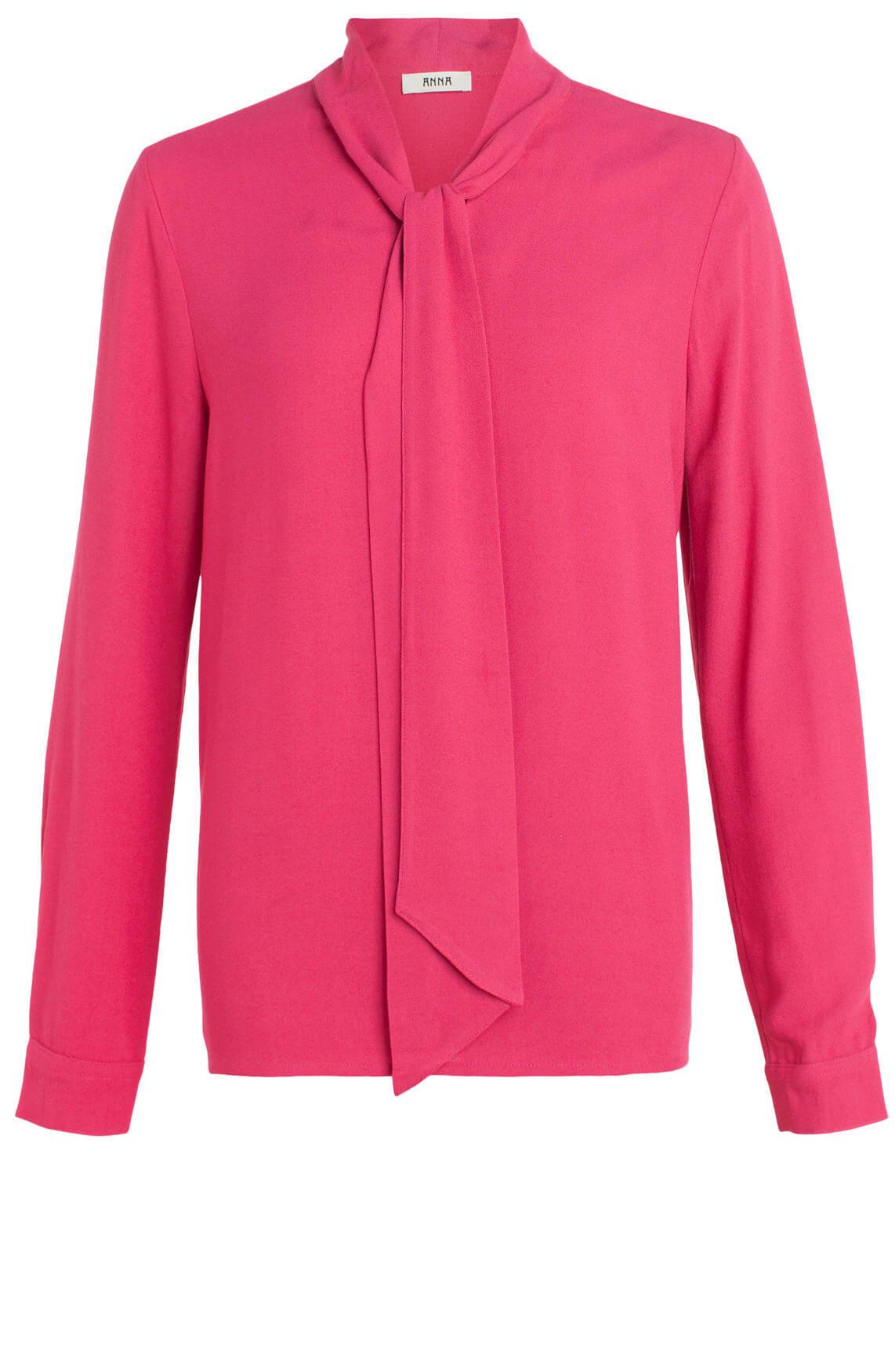 Anna Dames Blouse met striksluiting roze