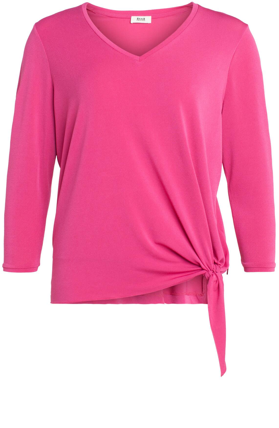 Anna Dames Shirt met knoopdetail roze
