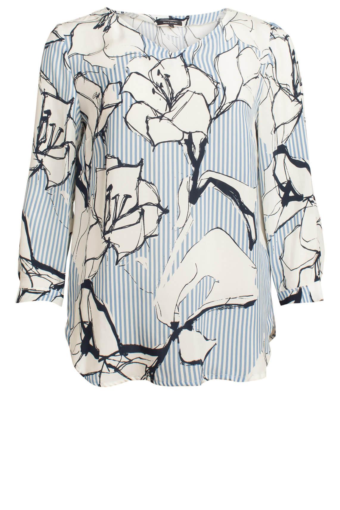 Marc O'Polo Dames Gestreepte blouse met print Blauw
