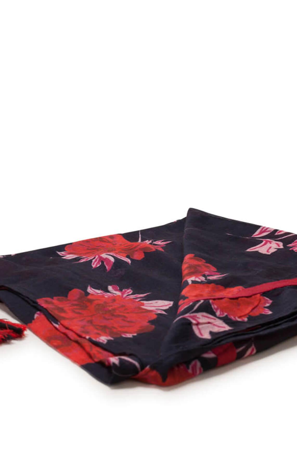 Anna Dames Shawl met bloemenprint zwart
