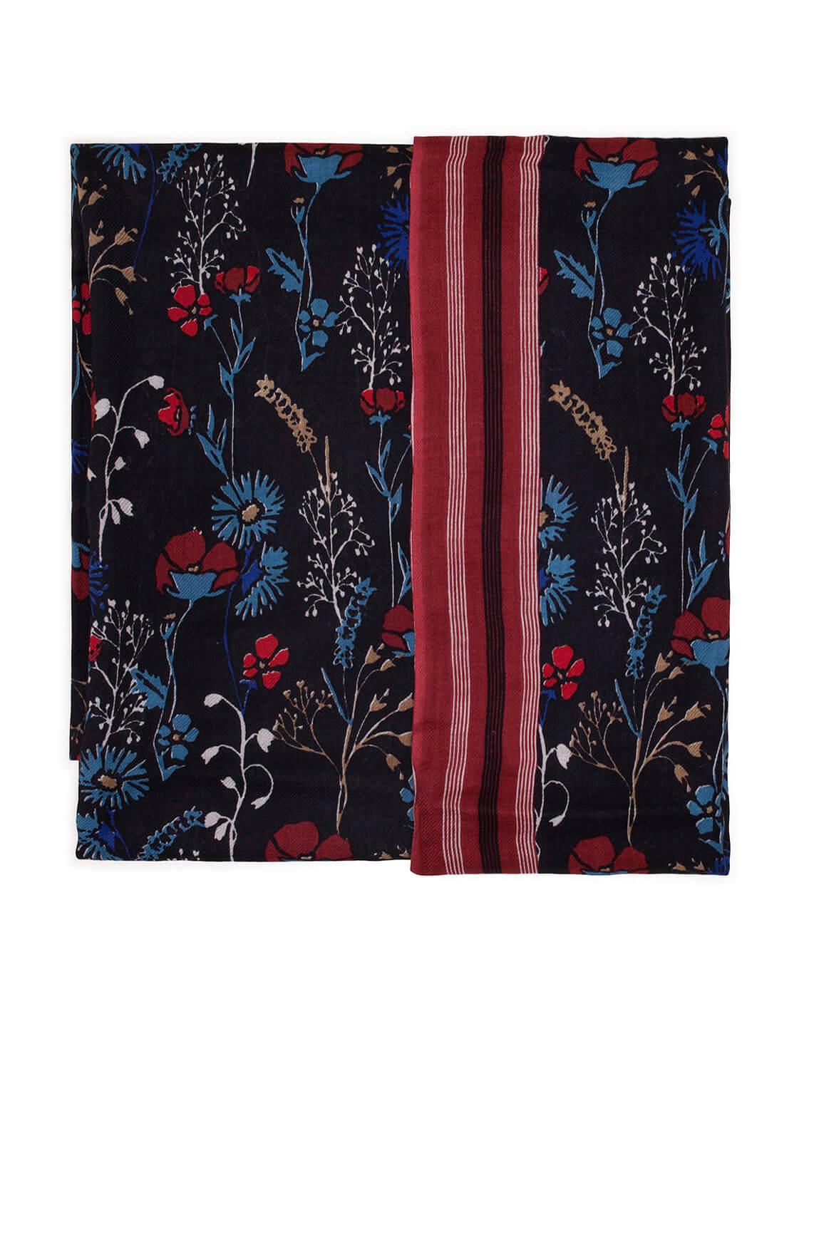 Marc O'Polo Dames Shawl met bloemenprint zwart