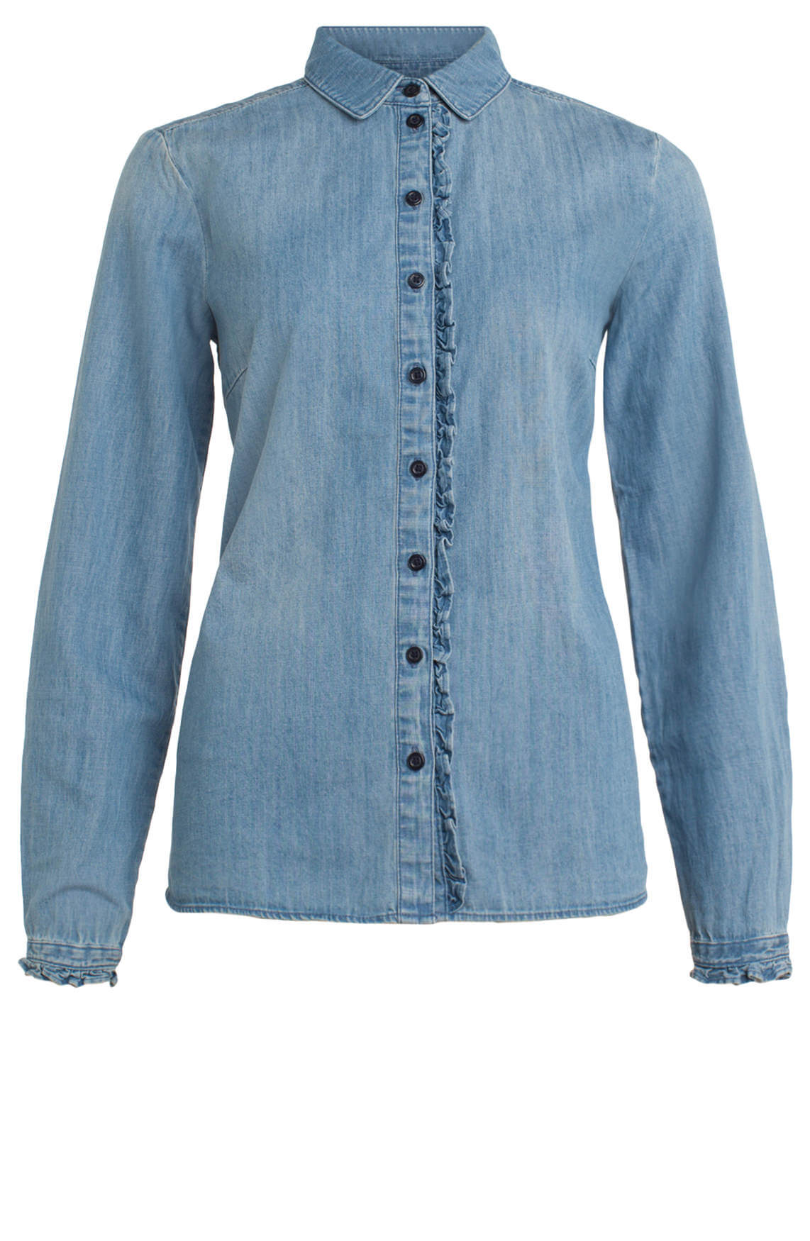 Marc O'Polo Dames Spijkerblouse met ruches Blauw