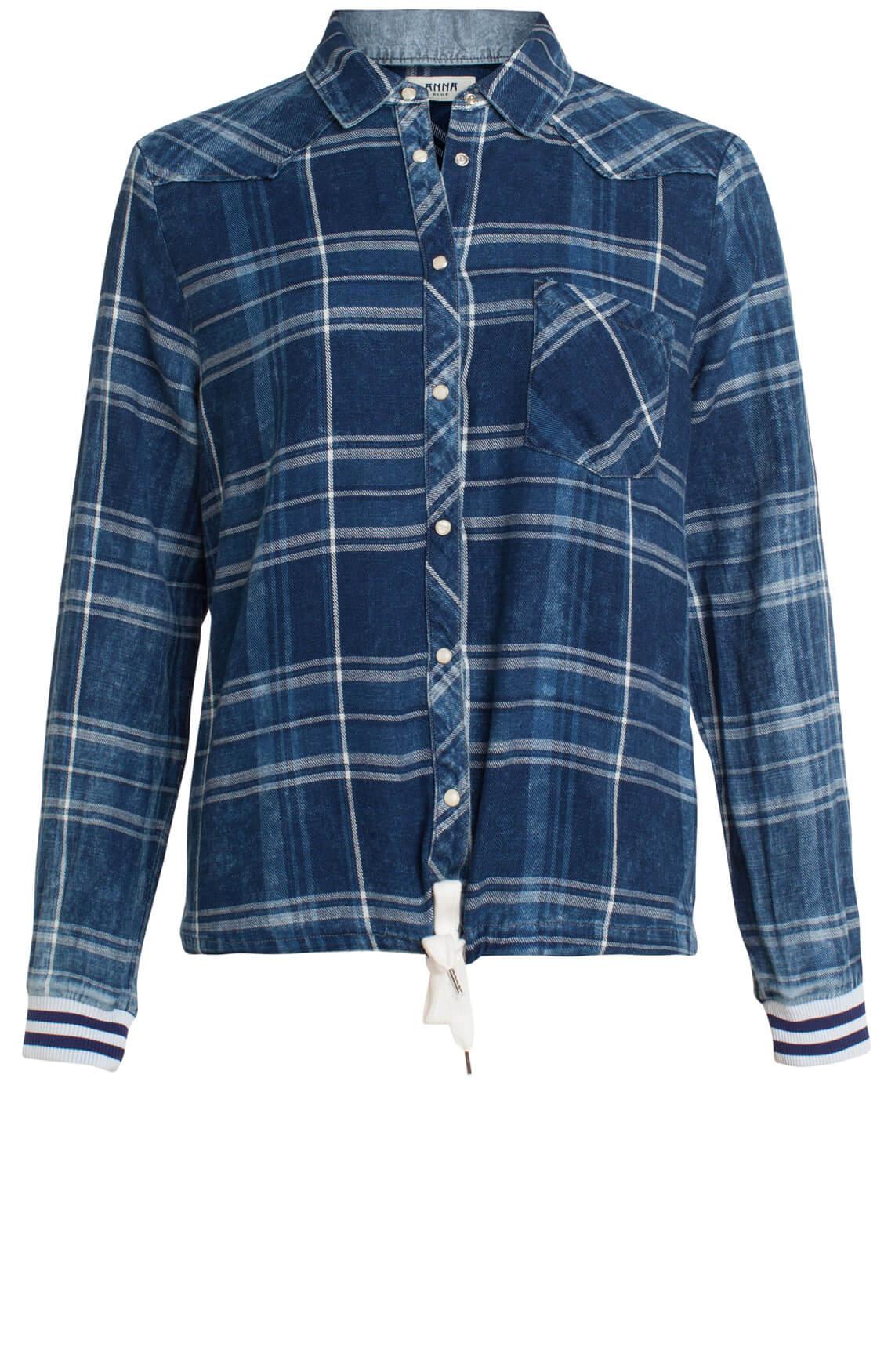 Anna Blue Dames Geruite blouse Blauw