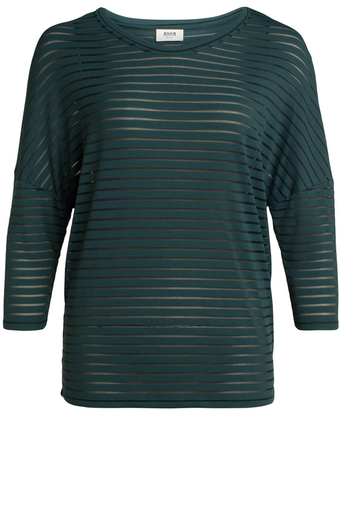 Anna Blue Dames Shirt met mesh groen