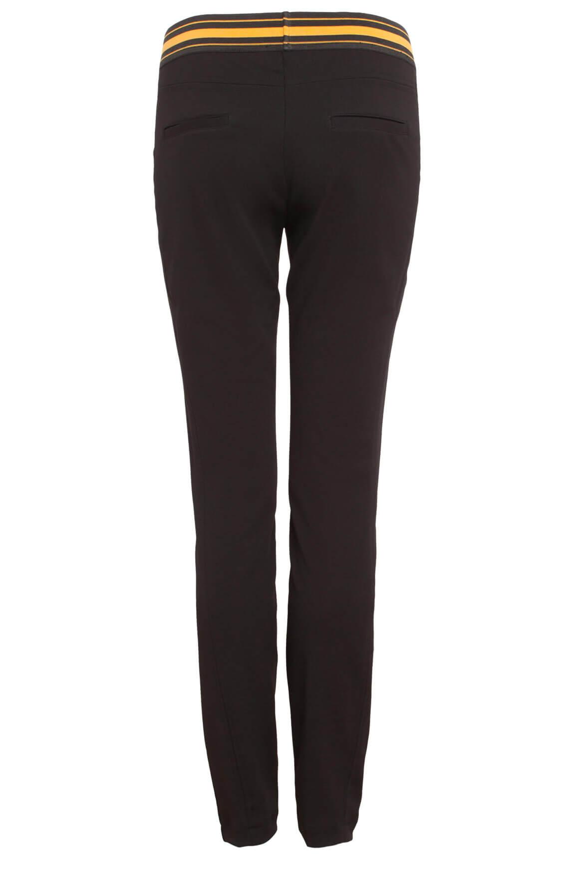 Anna Dames Pantalon met bies zwart