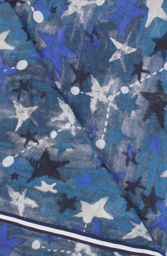 Anna Blue Dames Sterren shawl Blauw