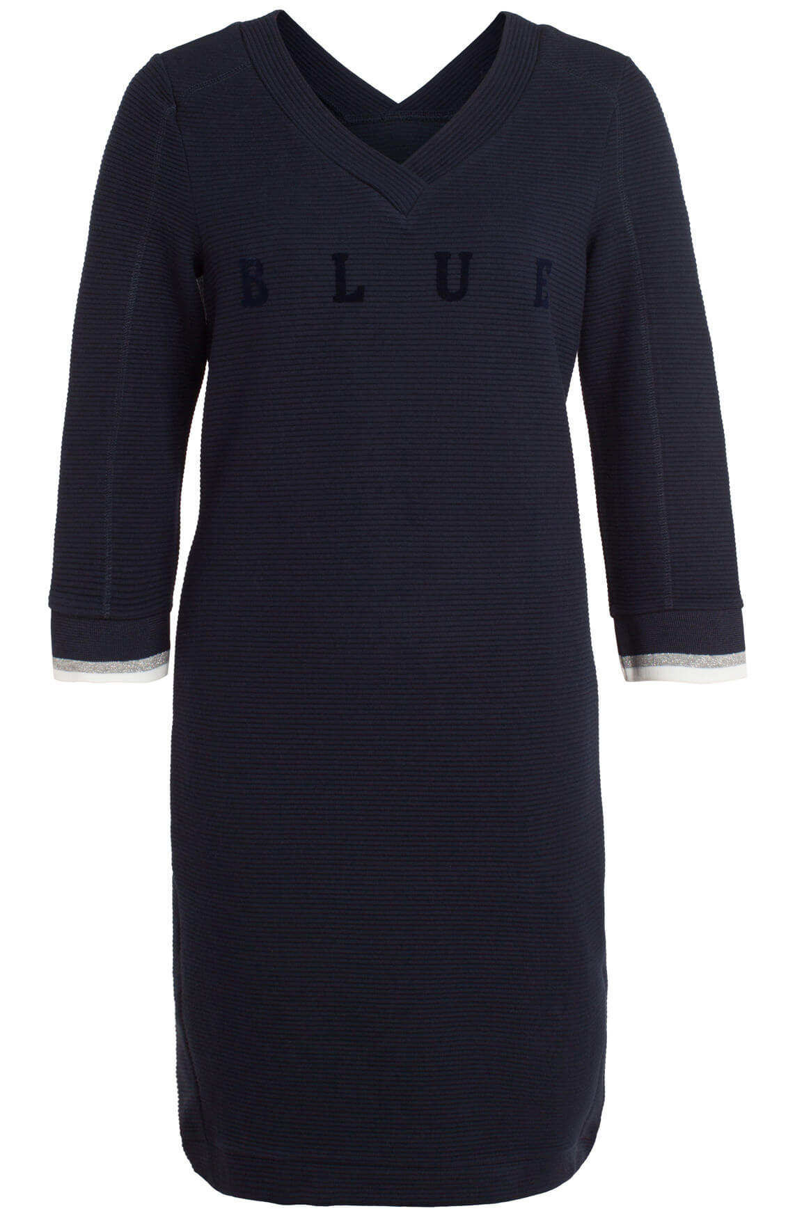Anna Blue Dames Ribgebreide jurk met v-hals Blauw