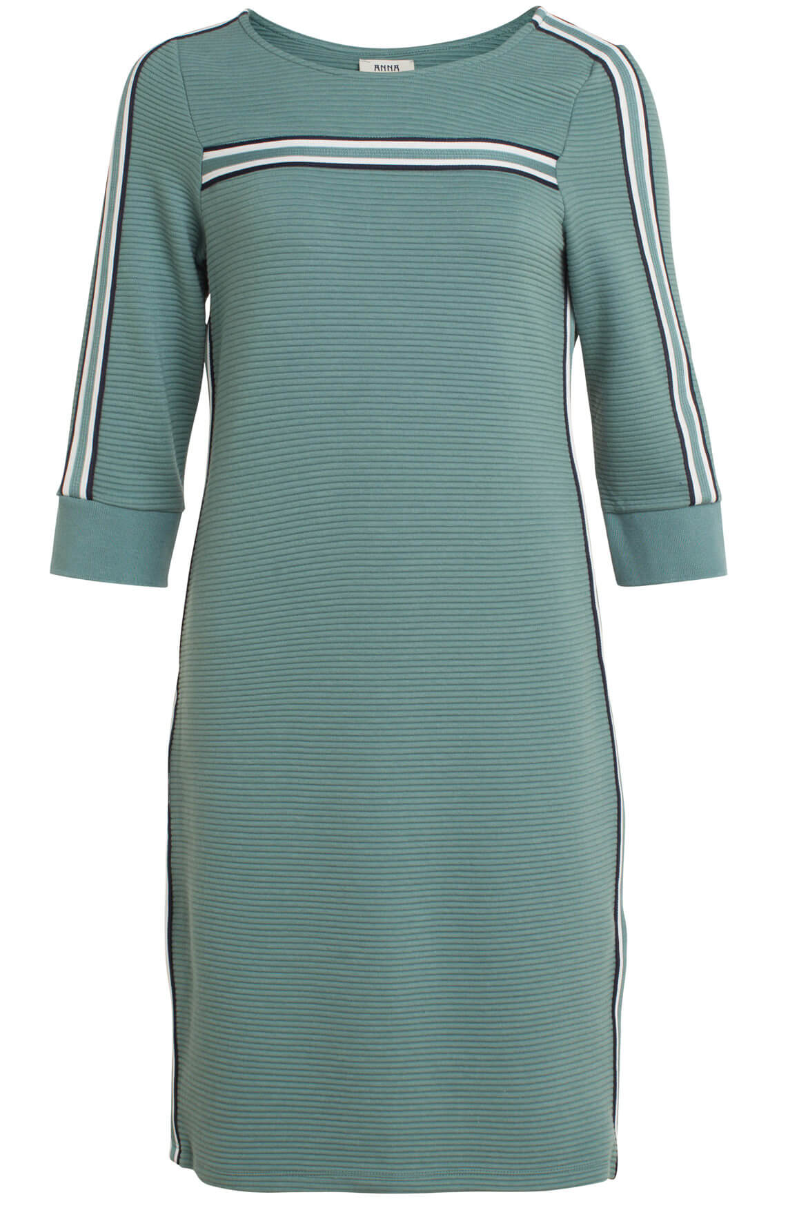 Anna Blue Dames Ribgebreide jurk groen