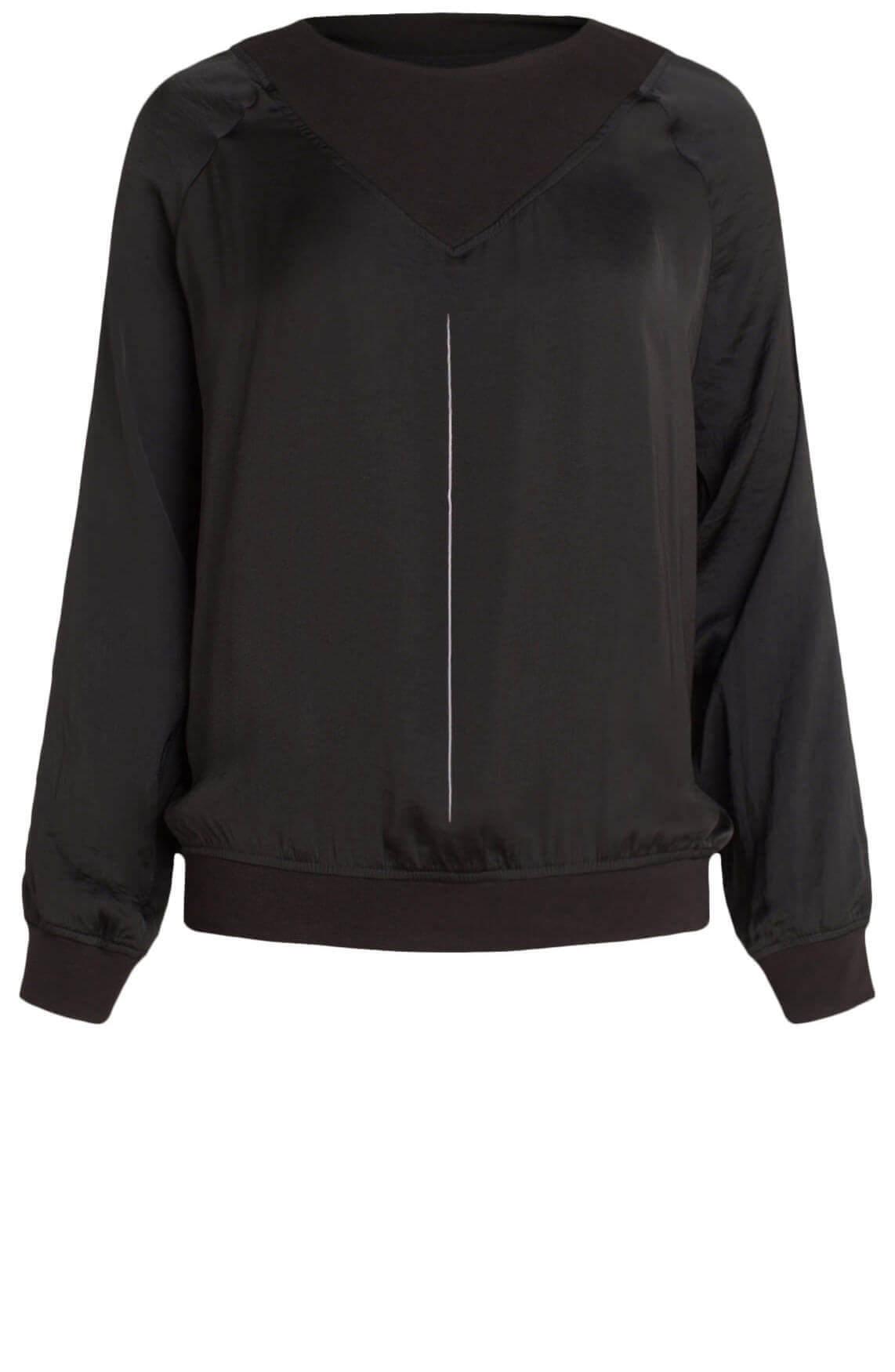 10 Days Dames Materiaalmix blouse zwart