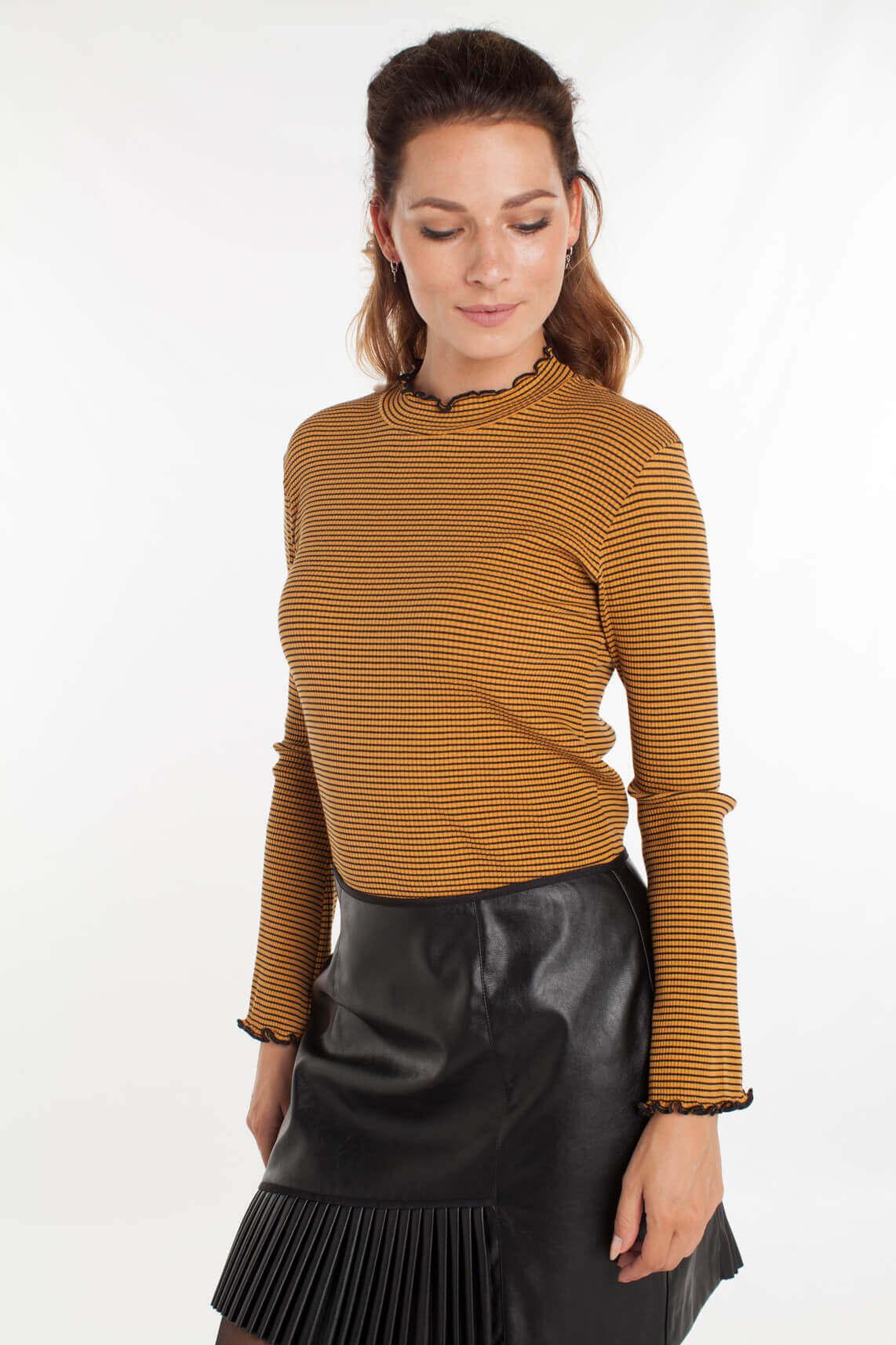 Second Female Dames Serbia gestreept shirt Bruin