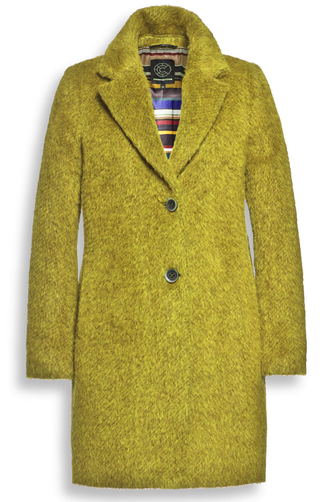 Creenstone Dames Wollen mantel geel geel