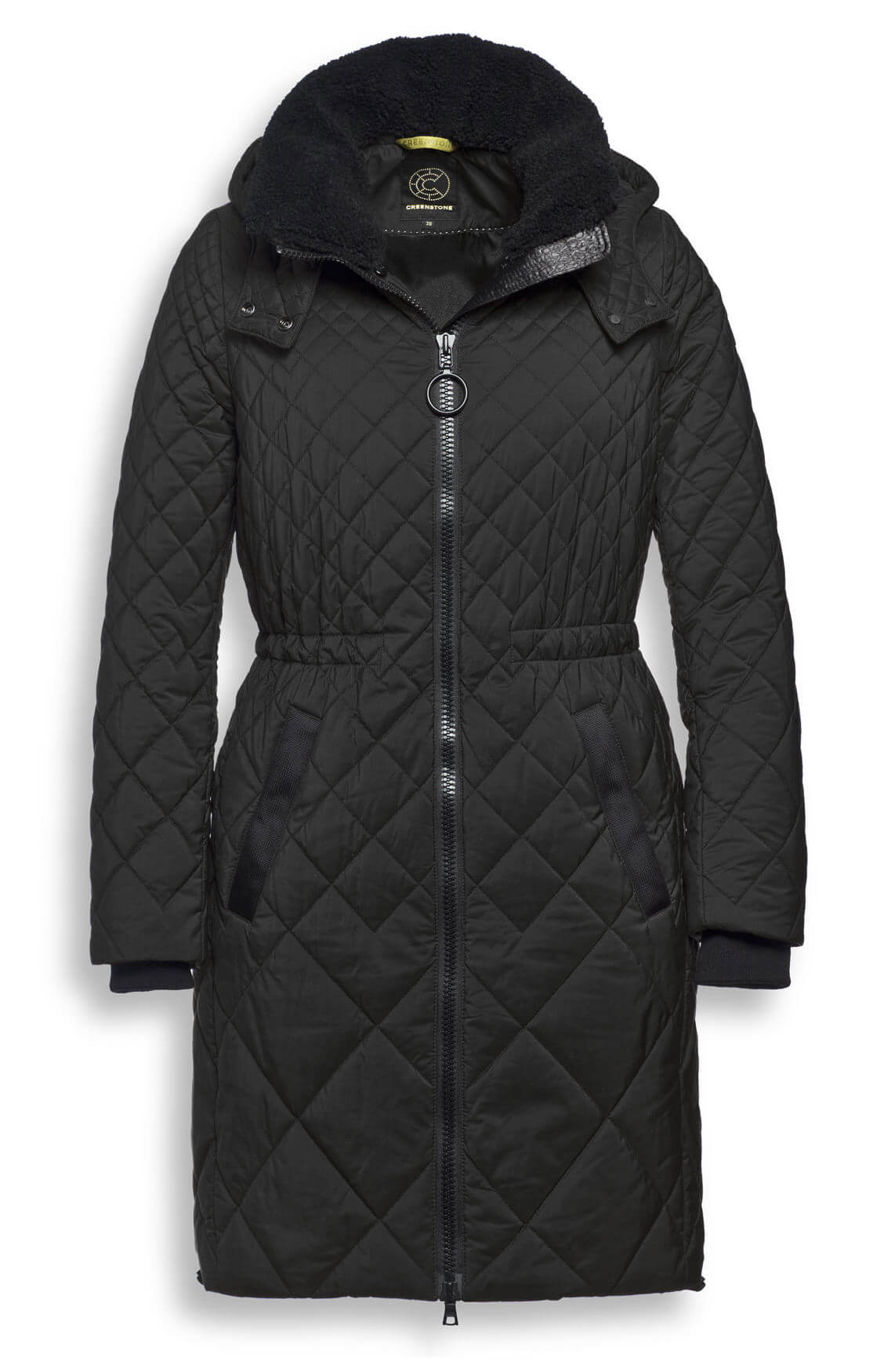 Creenstone Dames Lange gestepte jas zwart