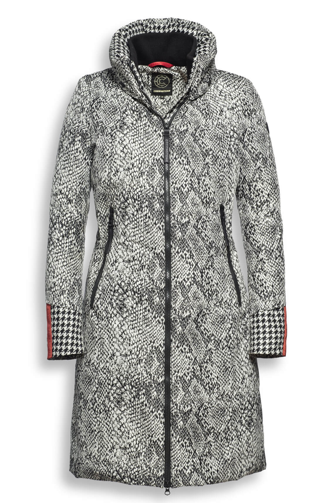 Creenstone Dames Getailleerde jas met reptielprint Ecru